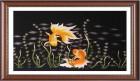 Tranh thêu linh vật  Đôi cá vàng