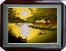 Tranh thêu phong cảnh bình minh trên sông
